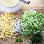 corn squash fritter prep